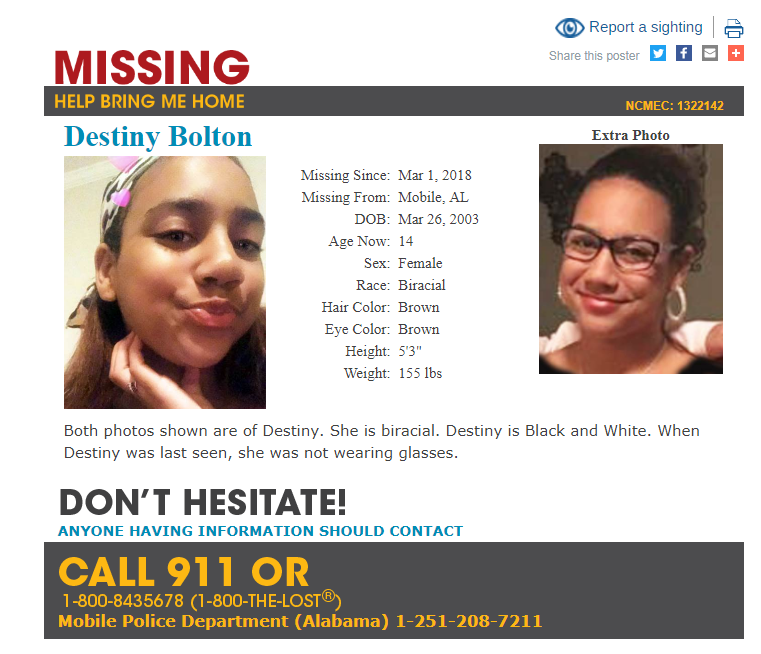A missing and exploited children's alert has been issued for 14-year-old Destiny Bolton of Mobile. Photo: missingkids.org.