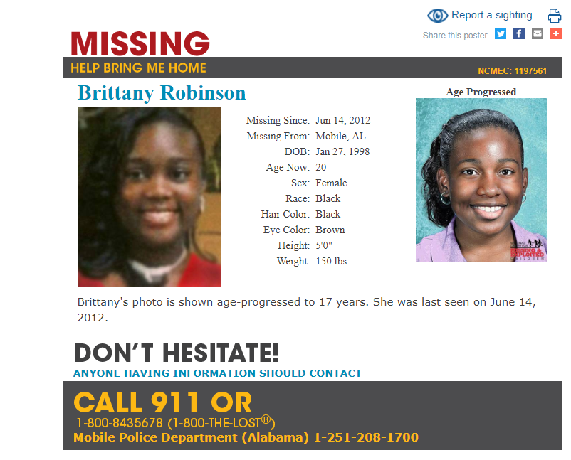 Brittany Robinson was reported missing from Mobile on June 14, 2012. Photo: National Center for Missing and Exploited Children.