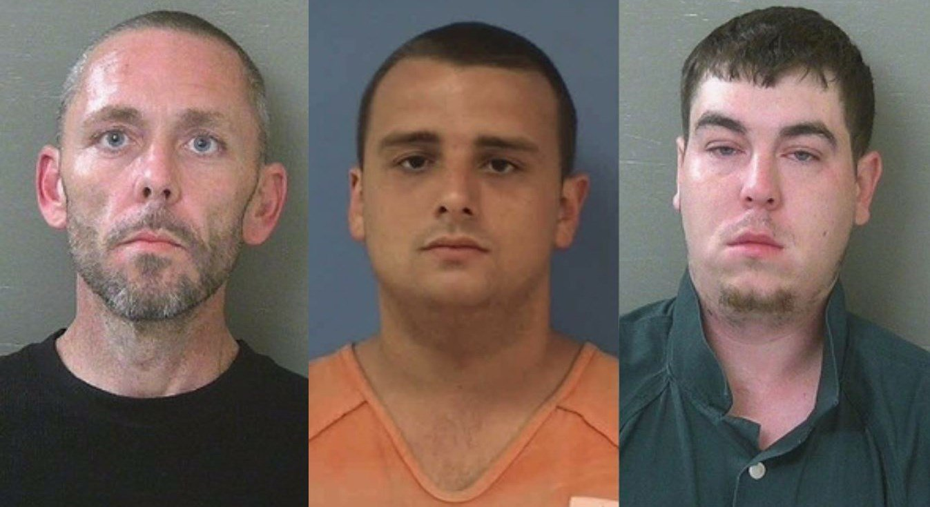 Home invasion supects, from left to right: Justin Cook, Jonathan Coffey and Joshua Miskimens (Photos: ECSO)