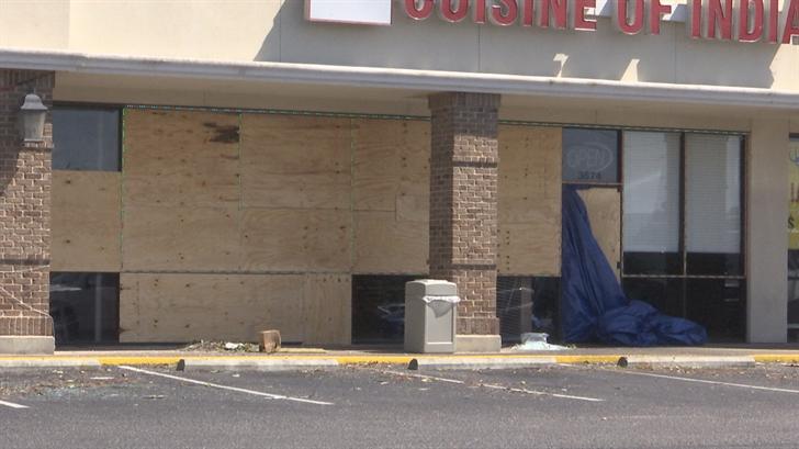 Damage at Yester Oaks Shopping Center in Mobile. (FOX10 News)