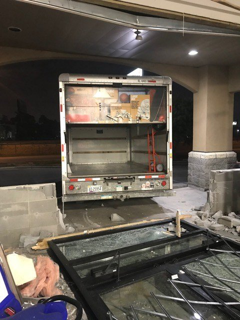 One of two stolen U-Hauls used in smash & grab. This one was used to crash storefront and was still running and in reverse when MPD arrived. Source: Dion Carrera