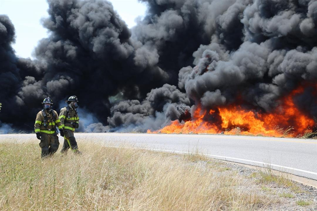 Mobile Fire-Rescue are on the scene of a fire on I-10 Texas Street and Canal were a tanker truck has overturned.Photo: Mobile Fire-Rescue