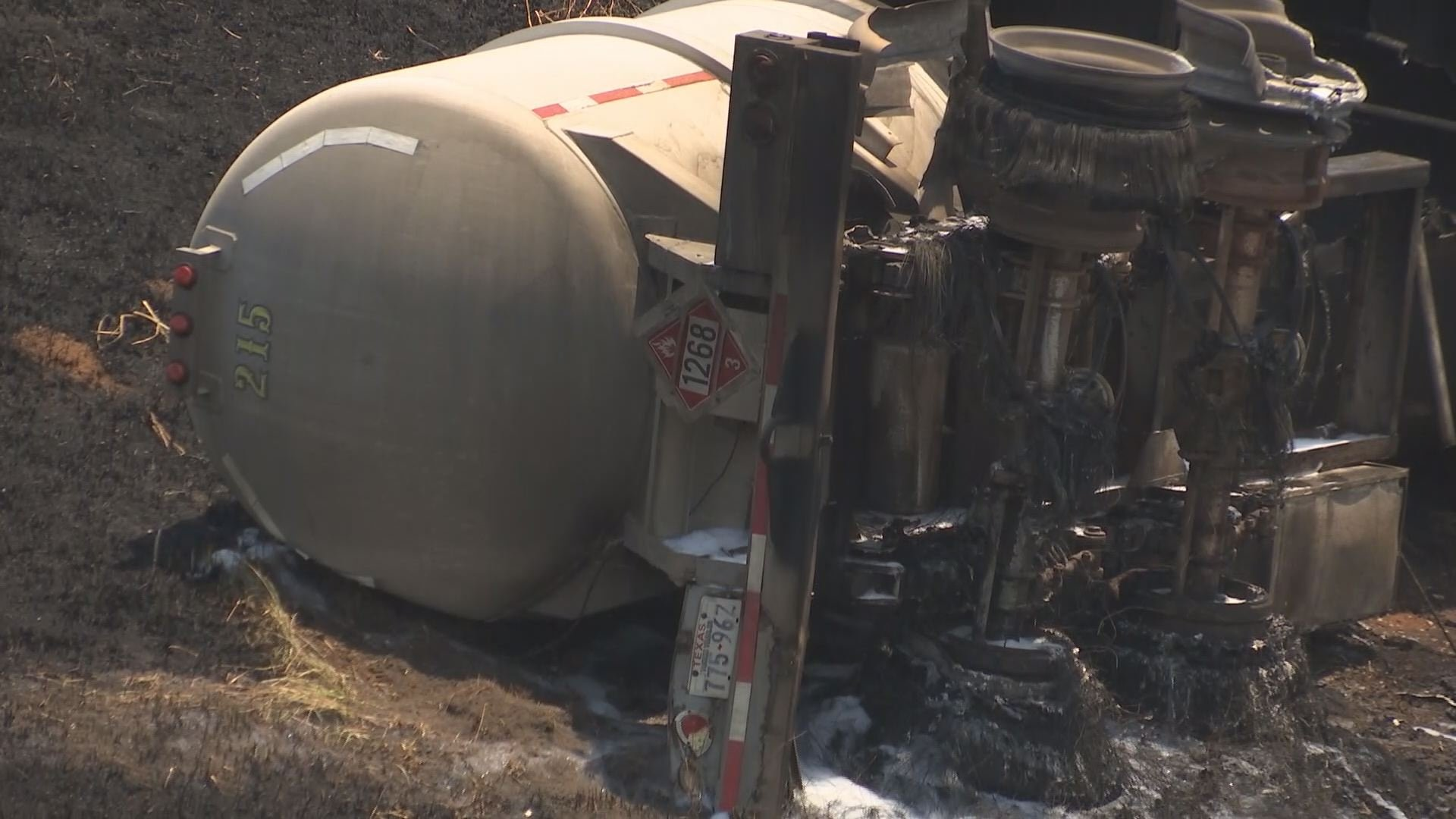 The back of the tanker truck involved in Monday's fiery crash on I-10 eastbound. (Franz Barraza, WALA)