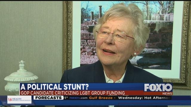 """Gov. Kay Ivey responds to """"Free2Be"""" grant. Source: WBRC"""