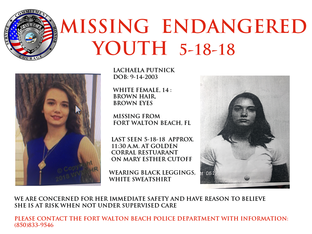 Fort Walton Beach officials needs the public's help locating 14-year-old Lachaela Putnick.Photo: Fort Walton Beach Police