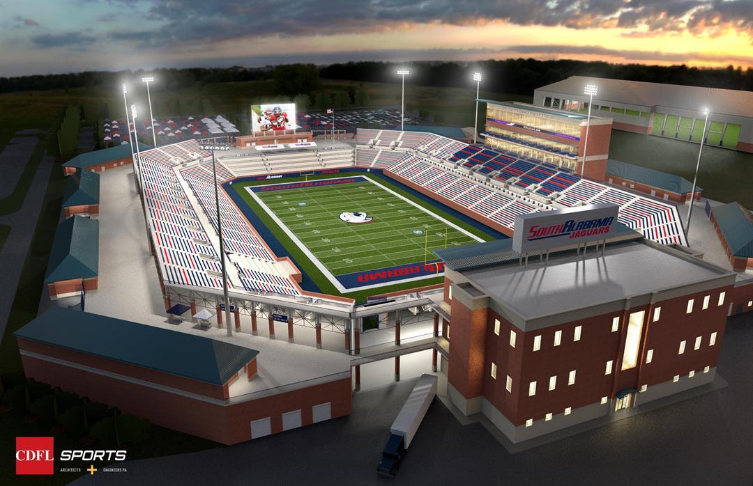 Rendering of proposed South Alabama stadium