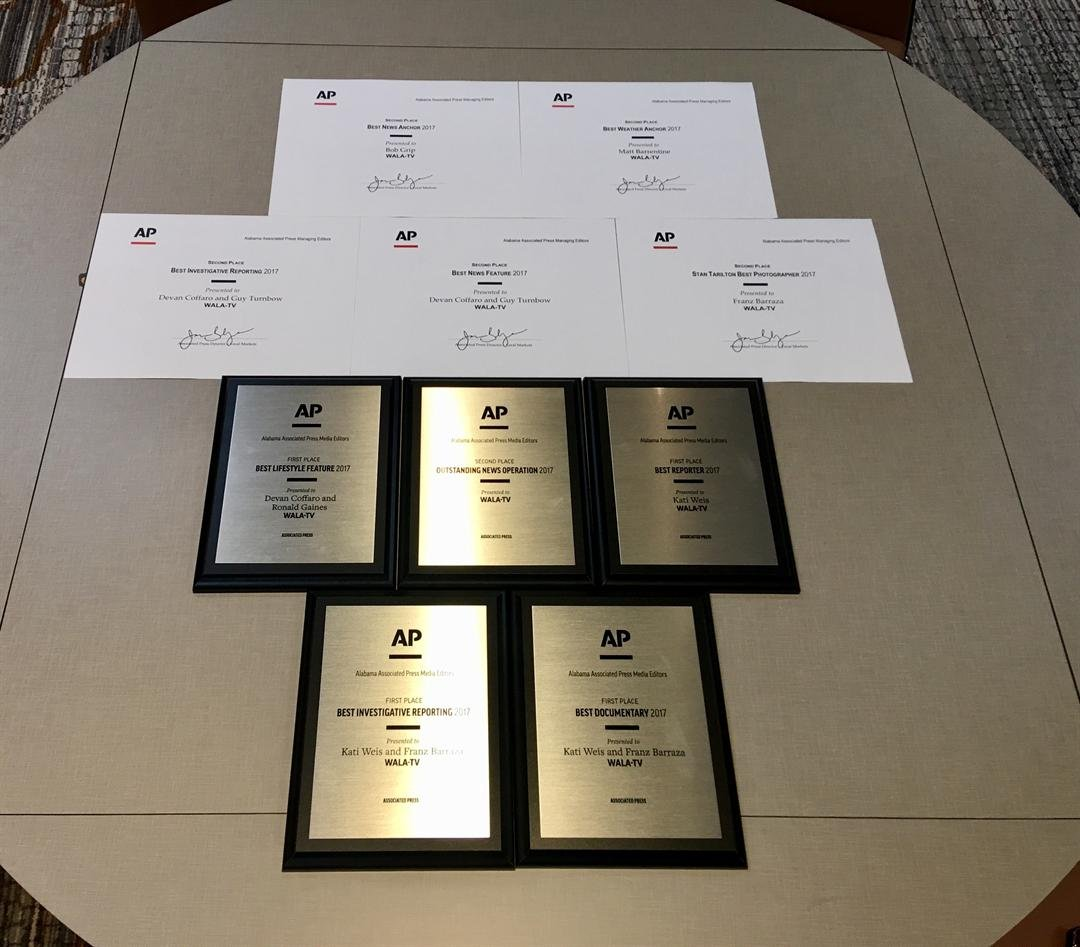 The Alabama Associated Press Media Editors bestowed several awards on FOX10 News for its journalistic efforts in 2017.