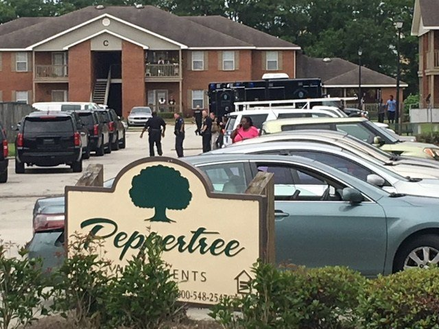 Mobile Police are on the scene of a domestic situation at Peppertree Apartments located at 6076 Sperry Road.  Photo: Devan Coffaro FOX10 News.