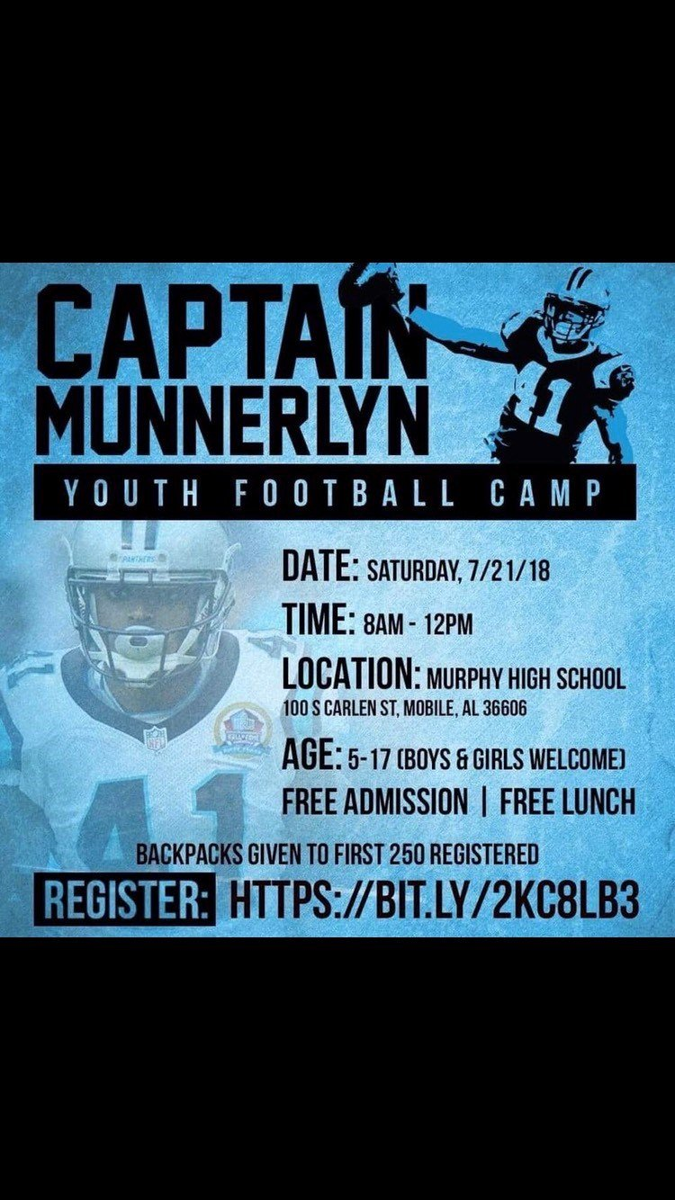 Registration is now open for a youth football camp hosted by local NFL star Captain Munnerlyn.