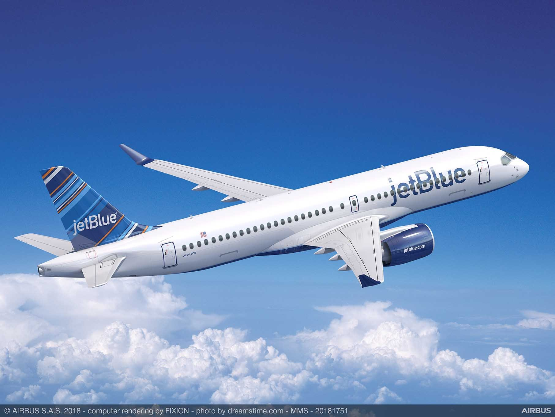 Rendering of JetBlue Airbus A220. (AIRBUS)