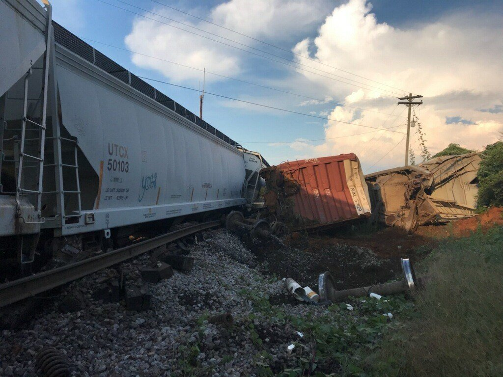 Six train cars derailed near Highway 31. July 11, 2018.  (Chief Deputy Mike Lambert/Escambia County Sheriff's Office)
