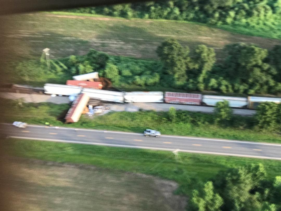 Aerial view of derailment near Highway 31. July 11, 2018.  (Chief Deputy Mike Lambert/Escambia County Sheriff's Office)