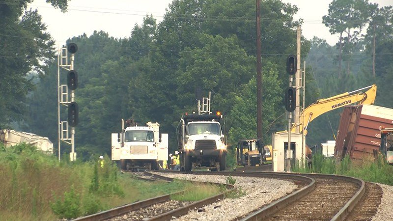 Crews work to remove derailed rail cars Thursday, July 12, 2018, in Escambia County, Ala. (Photo: Robert Brown, FOX10 News)