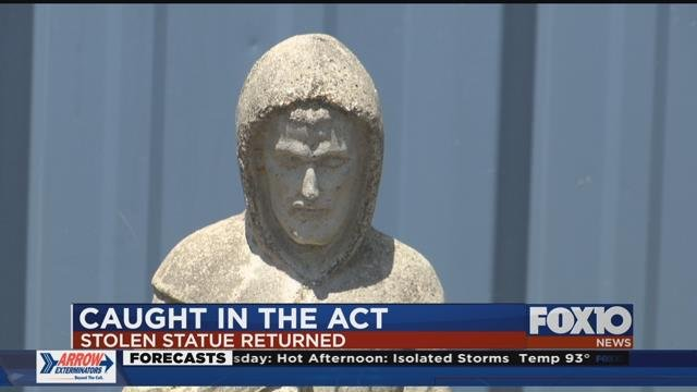 St. Francis of Assisi statue returned to local business. Source: FOX 10 News