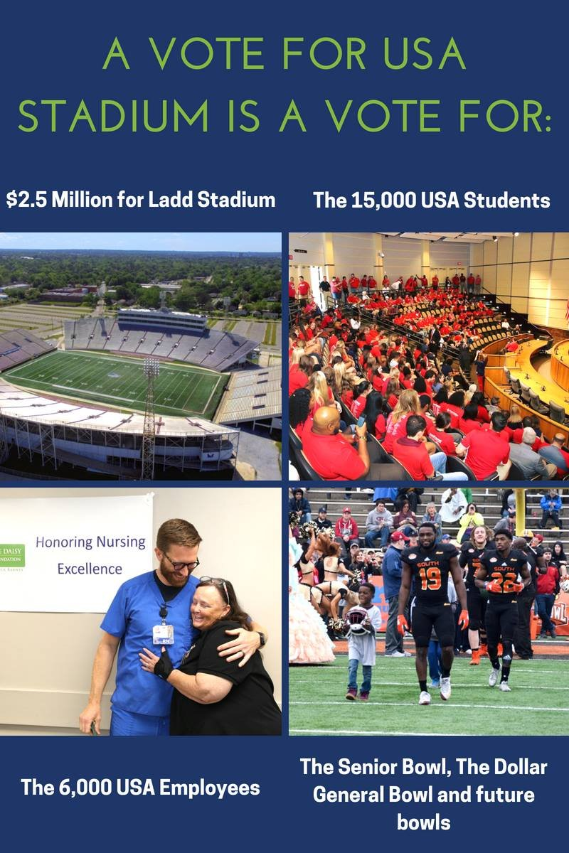 Mayor Stimpson posts support for South Alabama Stadium on Facebook. Source: Mayor's Facebook