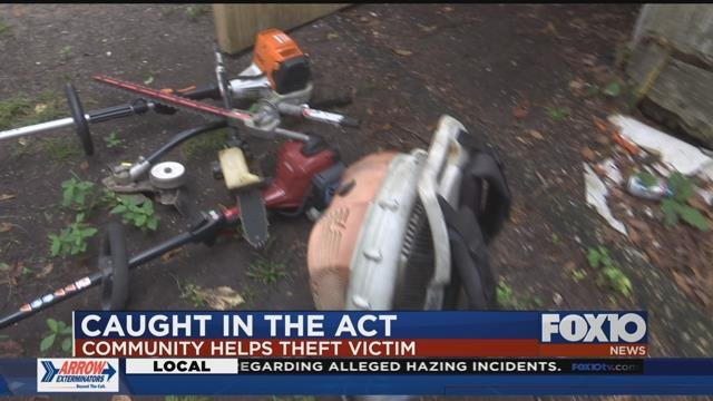 Lawn equipment donated to handicapped man who had his stolen by thieves. Source: FOX 10 News