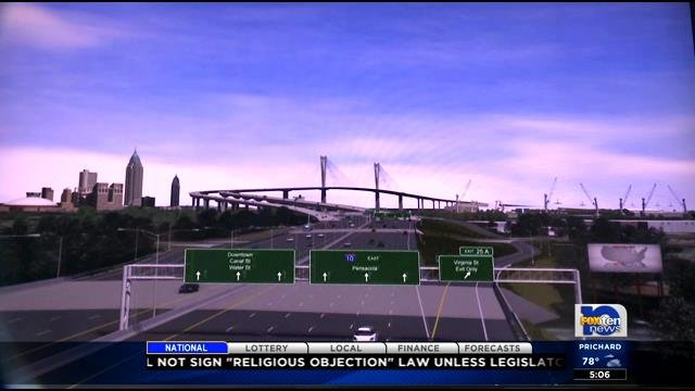 Depiction of proposed I-10 bridge over Mobile River (FOX10 News file)