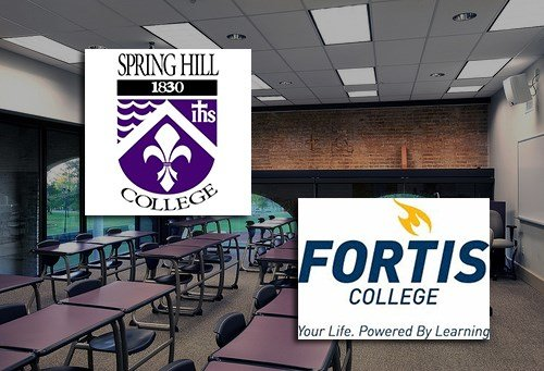 "Spring Hill College and Fortis College are on the U.S. Department of Education's list for ""heightening cash monitoring""."