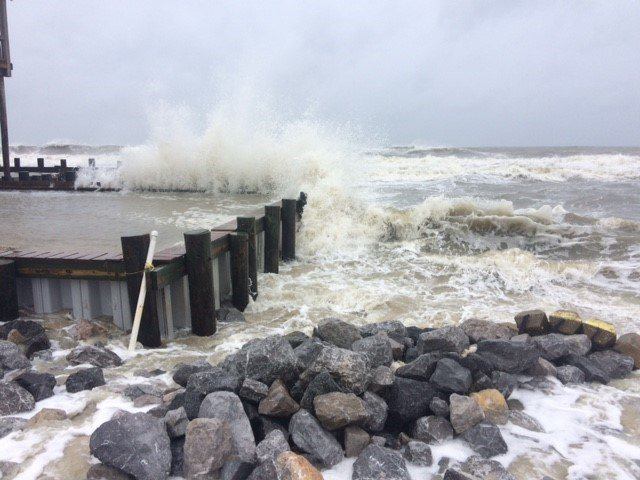 Waves crash against a home on the water on the West End of Dauphin Island. Photo: FOX10 News Reporter Alexa Knowles.