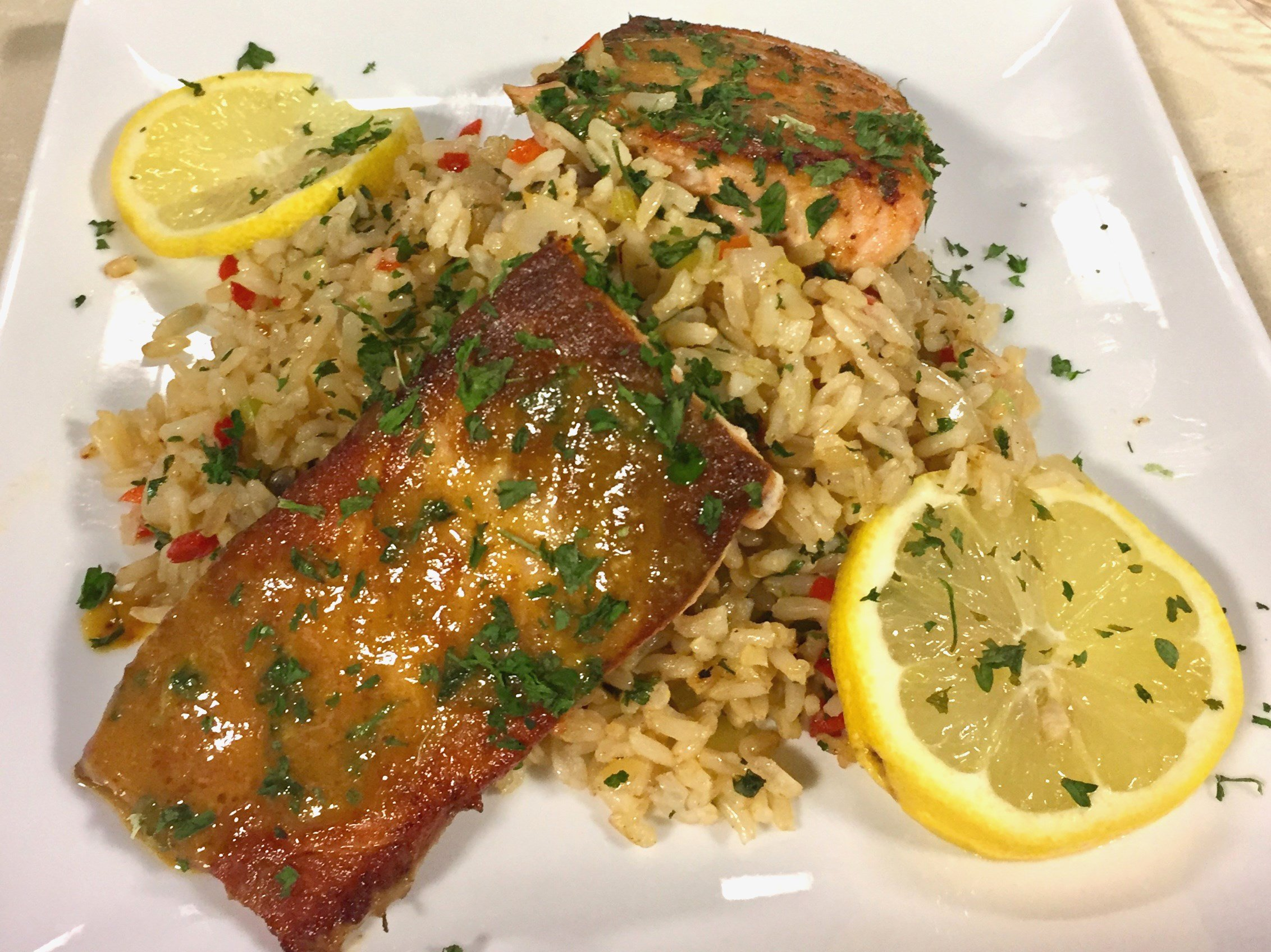 Grilled Salmon w/ Asian Mustard Glaze & Herbed Brown Rice - News ...